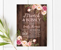 Brunch and Bubbly Bridal Shower Invitation Rustic Bridal