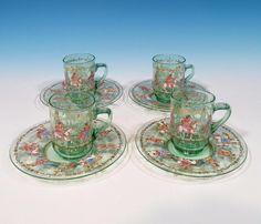 Salviati SET (4) Antique Venetian Murano Art Glass Moser Roman Enameled Demi C&S Venetian Glass, Glass Collection, Roman, Glass Art, Cups, Ebay, Antiques, Tableware, Life