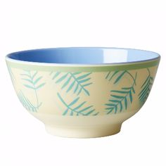 Rice Palm Leaf Melamine Bowl : Melamine bowl two tone with blue and yellow palm leaves print.