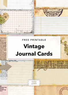 Free Printable - Vintage Journal Cards - Scrapbooking and Ephemera - Junk Journal, Journal Paper, Scrapbook Journal, Journal Cards, Life Journal, Journal Ideas, Planner Journal, Planner Stickers Free, Printable Stickers