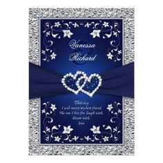 Navy Silver Floral Hearts FAUX Foil Wedding Invite #lenoxweddingcolors