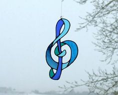 Stained Glass Treble Clef or G Clef Music Symbol Suncatcher