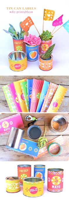 Make your own tin can garden! Beautiful can label printables and Mexican papel picado templates by Happythought for Cinco de Mayo.