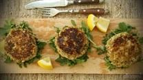 These salmon patties using canned salmon are seasoned with dill, cayenne pepper, and garlic.