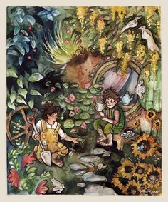 I really love Ulla Thynell's whimsical, and charming style - her view of MiddleEarth is endearing! § Bag End Garden by ullakko.deviantart.com on @deviantART