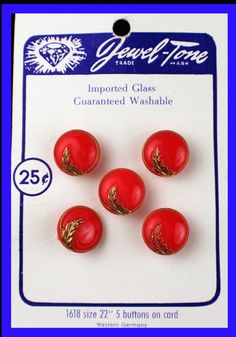 ButtonArtMuseum.com - Red Jewel-tone glass buttons from Germany