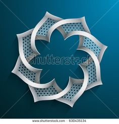 Abstract 3D round shape with islamic design on blue background