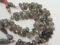 Grey Moonstone Faceted Pear Beads Grey Moonstone by gemsforjewels