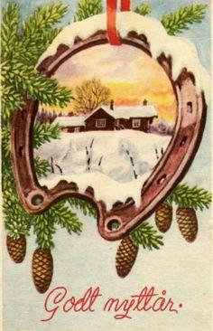 Nyttårskort Paul Lillo-Stenberg Utg Oppi Norwegian Christmas, Vintage Postcards, Rooster, Christmas Cards, Animals, Kunst, Vintage Travel Postcards, Christmas E Cards, Animales