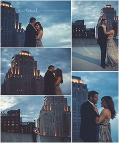 rooftop at night, city skyline, city lights, couple on rooftop, St. Louis Engagement, St. Louis Wedding Photographer, Charis Rowland Photography