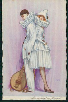 sg signed Art dECO Pierrot & Pierrette Lady original old c1920s postcard