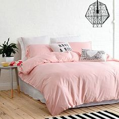 "Delightful and unique Quilt and Sham Set - Soft Pink/Grey - Twin size bedding 66""x86"", Cover + Pillow"