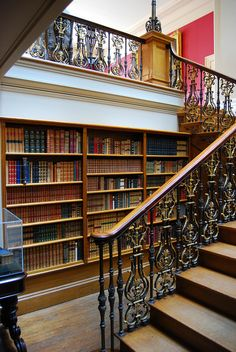 Staircase bookshelves, Ickworth House by aldisley on Flickr.