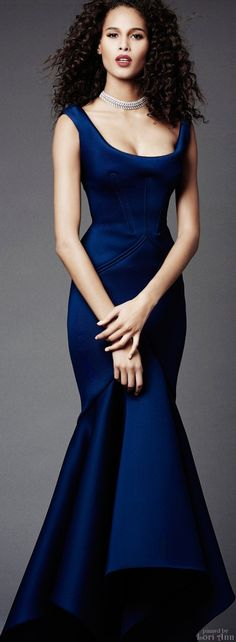 Oh, the structure and the blue! Zac Posen Pre-Fall 2015   JAGLADY