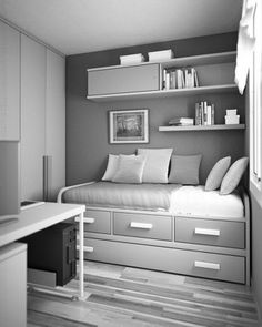Awesome bed idea, very versatile & extra storage
