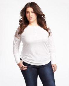 lace shoulder henley | Shop Online at Addition Elle