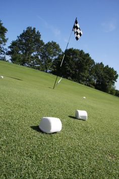 Longest drive with a marshmallow game! Whoever drives the marshmallow the furthest wins the prize! Cheap and simple game! Fun Golf Tournament Names Girls Golf, Ladies Golf, Golf Tournament Games, Golf Cart Covers, Golf Events, Golf Apps, Golf Outing, Golf Day, Golf Theme