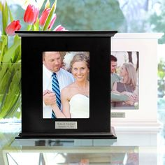 Personalized Wedding Photo Gift Card Holder Box in Black or White