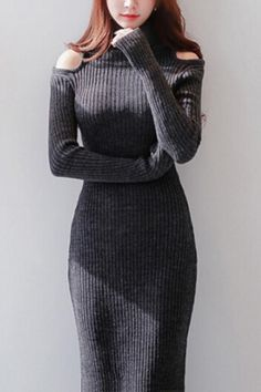 Off-shoulder Turtle Neck Long Sleeve Knit Midi Bodycon Dress Grey Outfit, Elegant Chic, Weekend Outfit, Beautiful Gowns, Playing Dress Up, Well Dressed, My Style, Classic Style, What To Wear