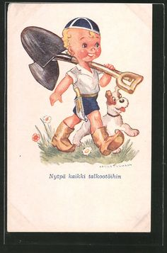 Künstler-AK sign. Arnold Tilgmann: Junge mit geschulteter Schaufel und Hund 0