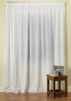 Simplicity Linen White Voile Curtain With Pinch Pleat