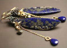Lapis Lazuli Long Dangle Earrings with Pyrite and by fussjewelry