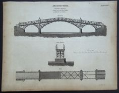 1820 Bridge Architecture Engraving: Elevation, Cross-Section, Plan, Engineering…
