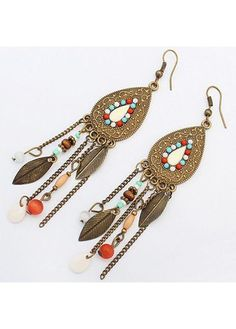 Boho Retro Turquoise Bead Leaf Tassel Drop Earrings