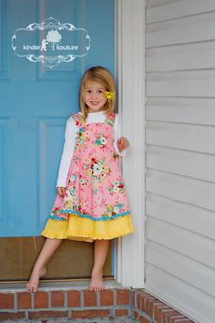 Girls Pink and Yellow Floriana Dress  Size 2/3 by KinderKouture, $89.00