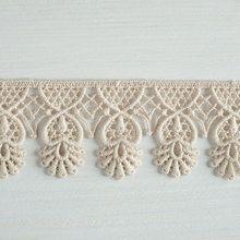 Organic lace trim 45 mm wide natural ecru cotton colour undyed, pineapple dropwww.lancasterandcornish.com #bridal #wedding #trim #lampshade #dressmaking #sewing #millinery #lingerie