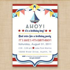 Ahoy nautical birthday invitation or baby shower