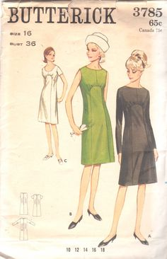 1960s Butterick 3785 Misses A Line Sunburst Dress by mbchills