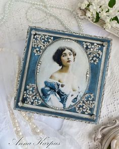 Jewelry Box  Romantic decoupage box Blue by AnnaBoutiqueStore