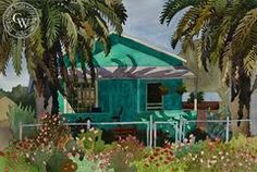 Aqua Bungalow and Palms, 1984, California art by Carolyn Lord. HD giclee art prints for sale at CaliforniaWatercolor.com - original California paintings, & premium giclee prints for sale