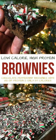 A healthier take on chocolate peppermint brownies with only 87 calories per brownie. Healthy Holiday Recipes, High Protein Recipes, Protein Snacks, Best Dessert Recipes, Desert Recipes, Snack Recipes, Protein Desserts, Healthy Protein, Winter Recipes