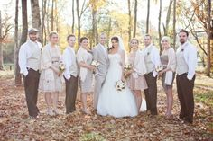 i love the earth tone colors....love the suits that the guys are wearing too....a wedding in the fall would be so pretty