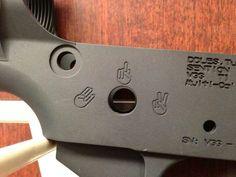 Hah! Peace (Safe), F**k You (Single Round), Shocker (3 Round Burst). AR-15 Lower…