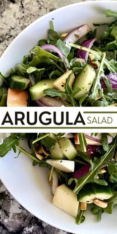 Arugula salad is a combination of 5 simple ingredients dressed in an oil-free red wine vinegar dressing then topped with toasted blanched almonds. So simple, yet it packs tons of flavor.Let's try it now! Healthy Salad Recipes, Vegan Recipes, Weeknight Meals, Easy Meals, Clean Eating Salads, Vinegar Dressing, Blanched Almonds, Salad Wraps, Arugula Salad