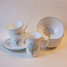 Mikasa China Botanical Bouquet Green Trim 2 Cereal Bowls Mug 2 Cups and Saucers #Mikasa
