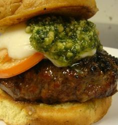 I tried this on Labor Day! It was AWESOME. Pesto Burger with monterey jack cheese and a fresh tomato slice