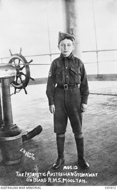 Reginald Garth, a 12 year old Perth boy who stowed away on the transport RMS Mooltan. His three brothers and father enlisted for the First World War and he wanted be part of what he thought might be an adventure.