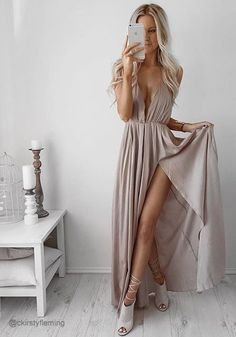 Cameo Color Strappy Plunge Dress – Lookbookclothing.com