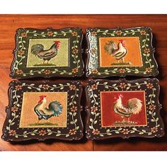"""Kimberly Poloson 8"""" Mediterranean Rooster Ceramic Plates at HSN.com.    I may have to get these...."""