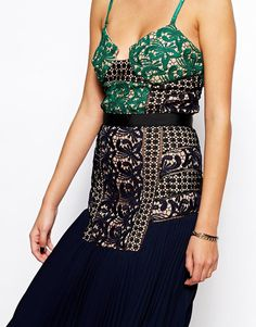 Image 3 ofSelf Portrait Midi Dress With Lace Bodice And Pleat Skirt
