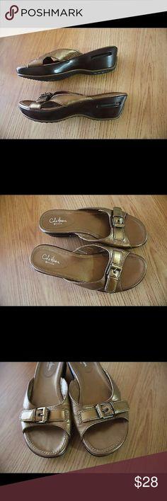 Cole Haan Nike Air Sz 8 Gold Wedge Slide Sandals Pre-Owned Cole Haan Nike Air G Series Women's Sz 8 B Gold Wedge Slide Sandals Sn: K6D21912 Cole Haan Shoes Sandals