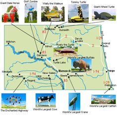 The Giant Beasts of North Dakota Virtual Tour Map North South, North West, North Dakota, North America, Roadside Attractions, Outdoor Sculpture, To Infinity And Beyond, Road Trip Usa, Road Trippin