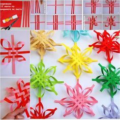 DIY Colorful Woven Star Snowflake--> http://wonderfuldiy.com/wonderful-diy-colorful-woven-star-snowflake/