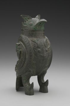 Owl-Shaped Wine Vessel (Zun), Shang dynasty (1600–1050 BC), Anyang phase (1300–1050 BC). Bronze, 20.7 x 9.8 cm (8 1/8 x 3 7/8 in.), Hobart and Edward Small Moore Memorial Collection, Gift of Mrs. William H. Moore, 1954
