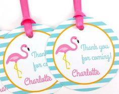 Flamingo Party Favor Tags, Flamingo Birthday Favor Tags, Flamingo Tags, Flamingo Party Decorations - SET OF 12 Flamingo Party, Flamingo Baby Shower, Flamingo Birthday, 1st Birthday Themes, Birthday Favors, Birthday Parties, Party Favor Tags, Tropical Party, Kids Party Games