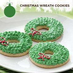 Taste of Home's Cookie Countdown: Christmas Wreath Cookies! These festive Christmas wreaths will add a special holiday touch to your tray of sweets. Kate Stierman of Dubuque, Iowa shared this delightful cookie recipe